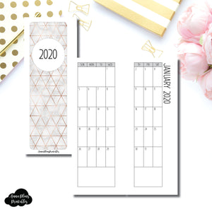 Skinny Mini HP Size | 2020 SIMPLE FONT Monthly Calendar (SUNDAY Start) PRINTABLE INSERT ©