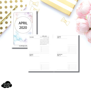 Pocket Rings Size | APR - DEC 2020 Daily Week on 4 Pages Printable Insert