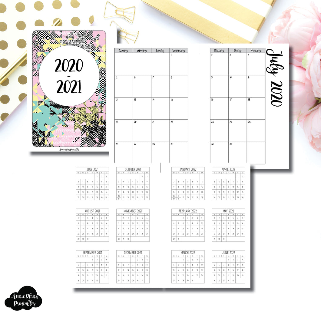 A5 Wide Rings Size | 2020 - 2021 Academic Monthly Calendar (SUNDAY Start) PRINTABLE INSERT ©
