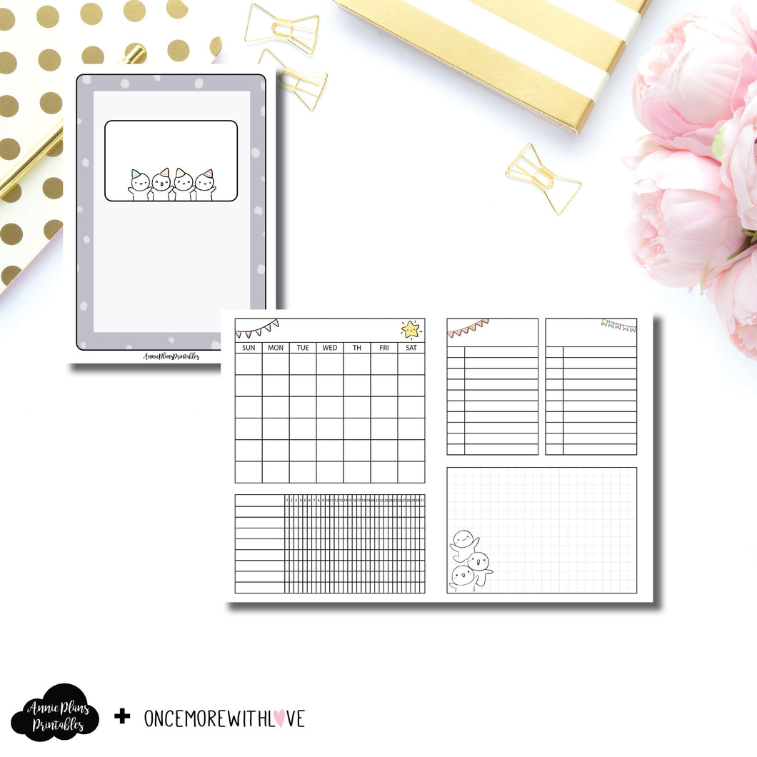 B6 TN Size | Undated Monthly OnceMoreWithLove Collaboration Printable Insert ©