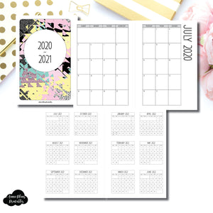 HWeeks Wide Size | 2020 - 2021 SIMPLE FONT Academic Monthly Calendar (SUNDAY Start) PRINTABLE INSERT ©