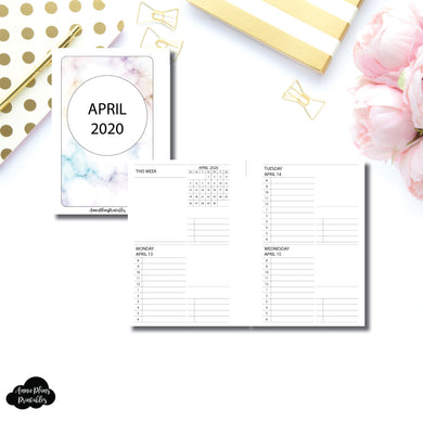 Pocket Plus Rings Size | APR - DEC 2020 Timed Daily Week on 4 Pages Printable Insert