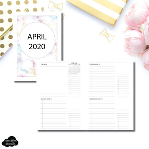 A5 Rings Size | APR - DEC 2020 Untimed Daily Week on 4 Pages Printable Insert