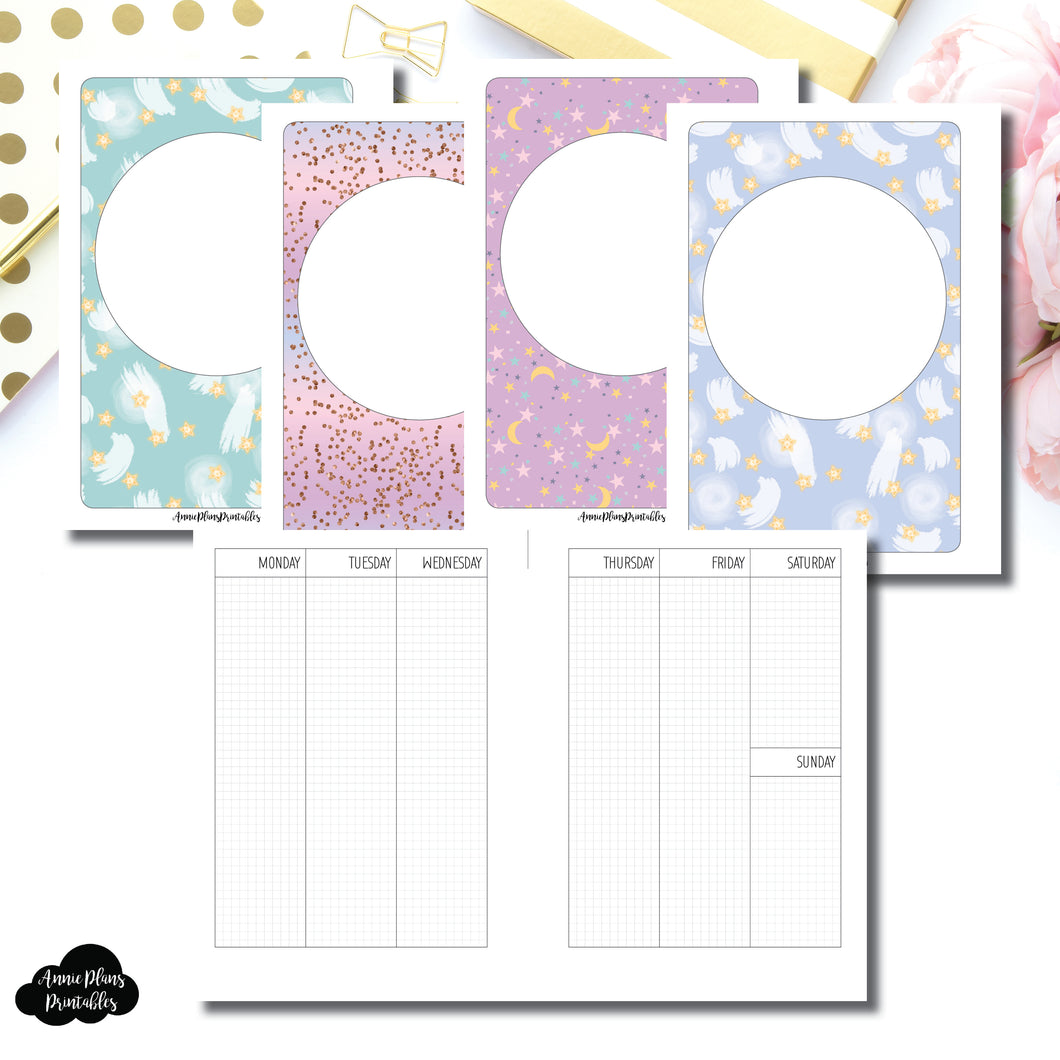 A6 Rings Size | UNDATED 2 PAGE VERTICAL GRID Printable Insert ©