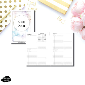 Pocket Plus Rings Size | APR - DEC 2020 Untimed Daily Week on 4 Pages Printable Insert
