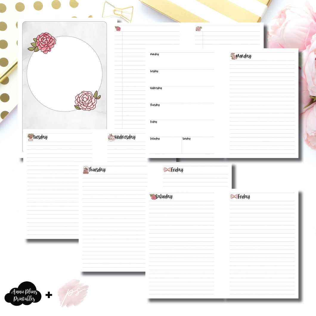 A5 Rings Size | Undated Daily Papershire Collaboration Printable Insert ©