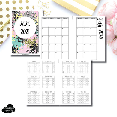 H Weeks Size | 2020 - 2021 Academic Monthly Calendar (SUNDAY Start) PRINTABLE INSERT ©