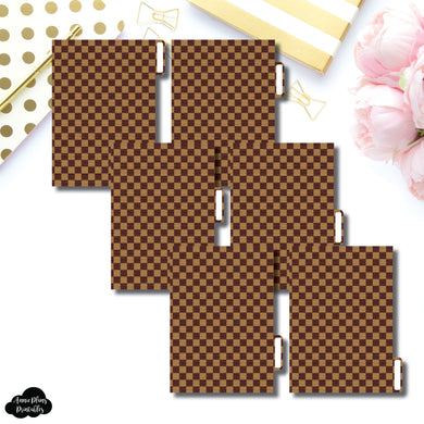 A6 Ring Dividers | Luxe Brown 6 Side Tab Printable Dividers