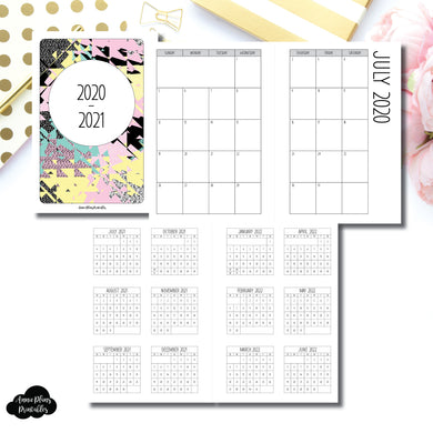 Pocket Plus Rings Size | 2020 - 2021 SIMPLE FONT Academic Monthly Calendar (SUNDAY Start) PRINTABLE INSERT ©