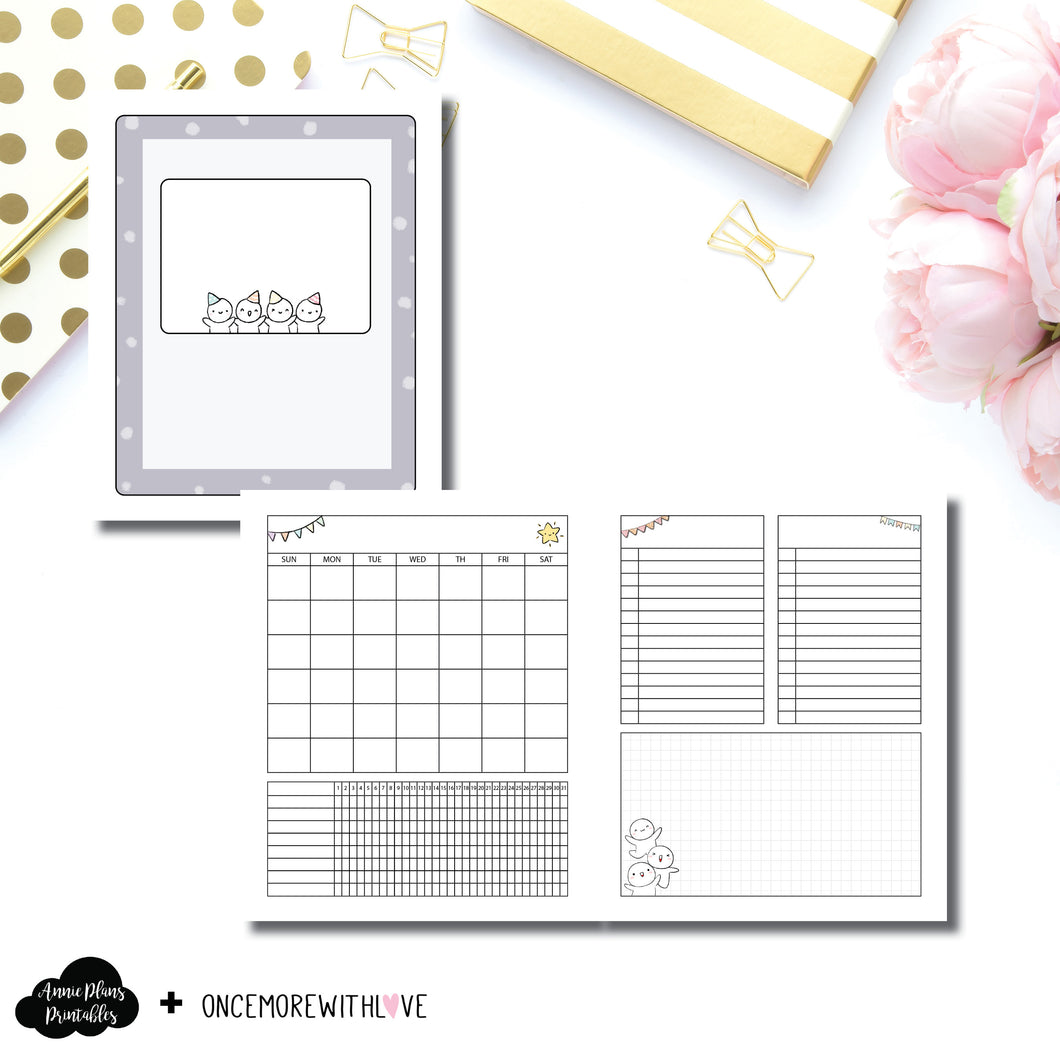 A5 Wide Rings Size | Undated Monthly OnceMoreWithLove Collaboration Printable Insert ©