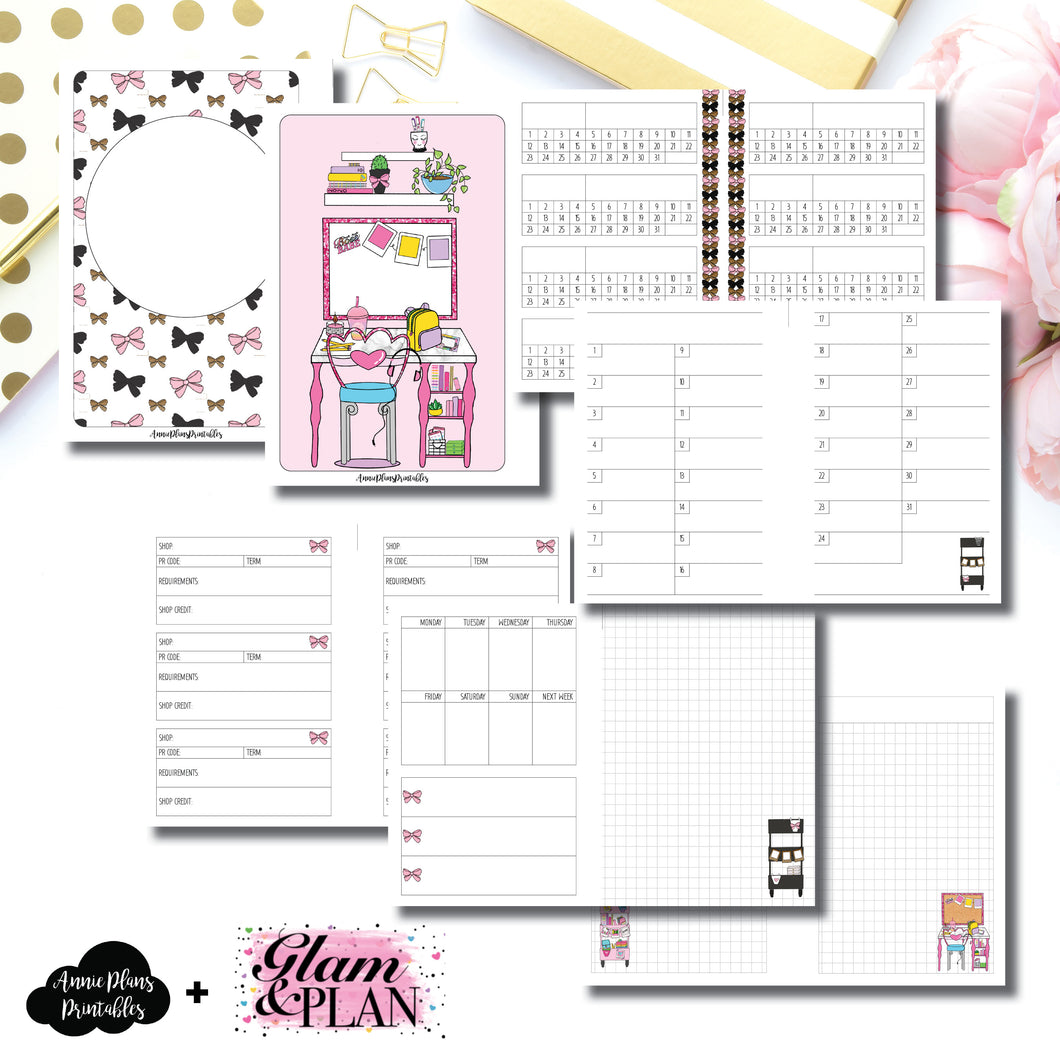 A6 Rings Size | PR Tracker Insert Collaboration Bundle with Glam & A Plan Printable Insert