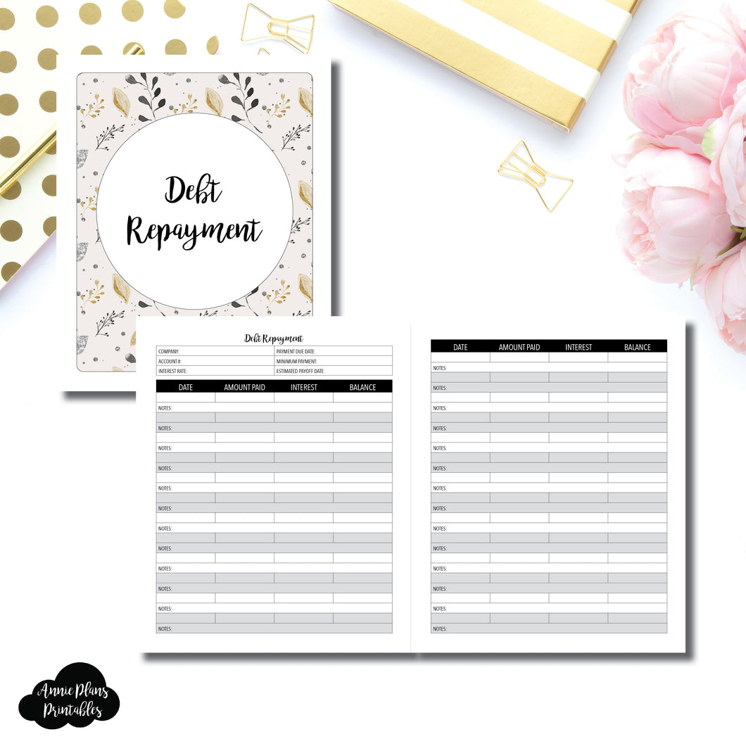 A5 Wide Rings Size | Debt Repayment Printable Insert ©