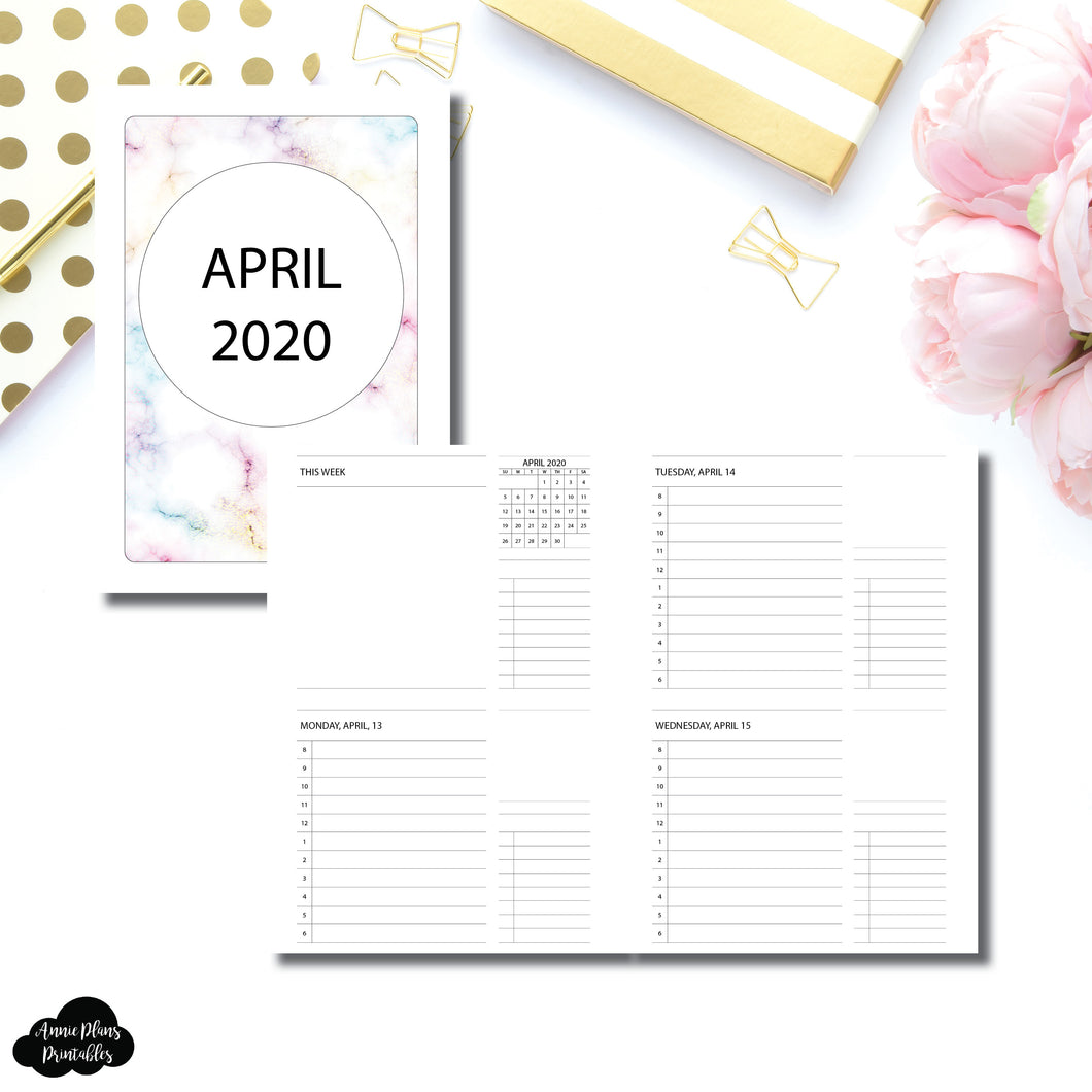 A5 Rings Size | APR - DEC 2020 Timed Daily Week on 4 Pages Printable Insert