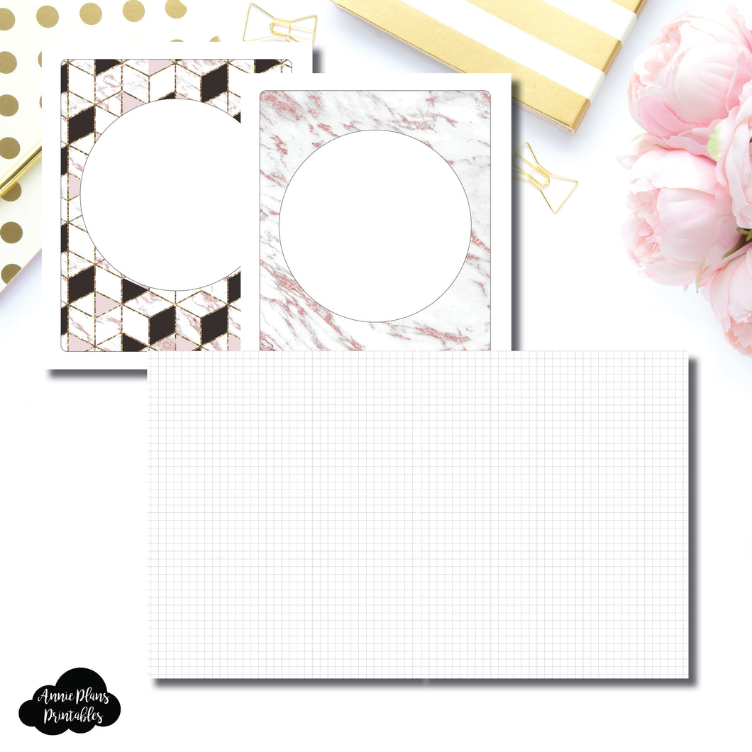 A5 Wide Rings Size | Plain GRID Printable Inserts ©