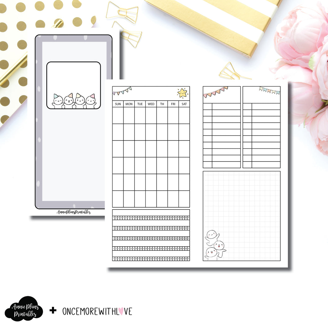 HWeeks Wide Size | Undated Monthly OnceMoreWithLove Collaboration Printable Insert ©