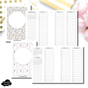 Pocket Plus Rings Size | FEB - DEC 2020 Minimalist Timed + Checklist Vertical Printable Insert