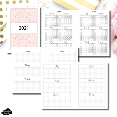 Pocket Plus Rings Size | 2021 Year at a Glance on 2 Pages Printable Insert