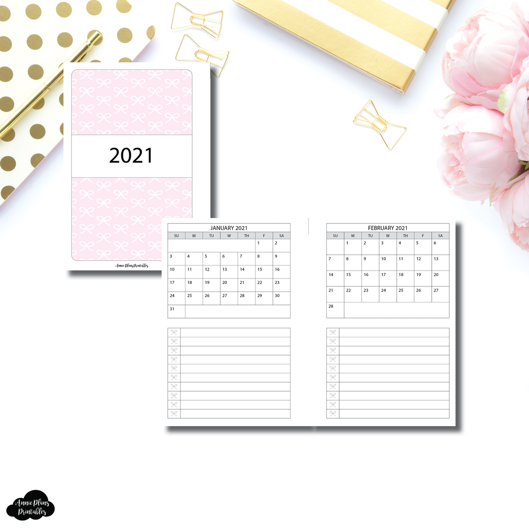 Personal TN Size | 2021 Single Page Monthly + Lists Printable Insert