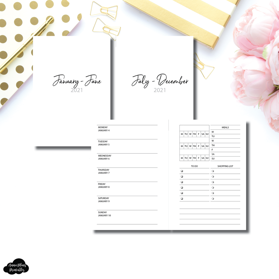 Pocket Plus Rings Size | JAN - DEC 2021 | Week on 1 Page With Trackers + Lists  Printable Insert