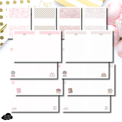 Personal TN Size | Pink and Neutral Grid Designer Notes Printable Insert