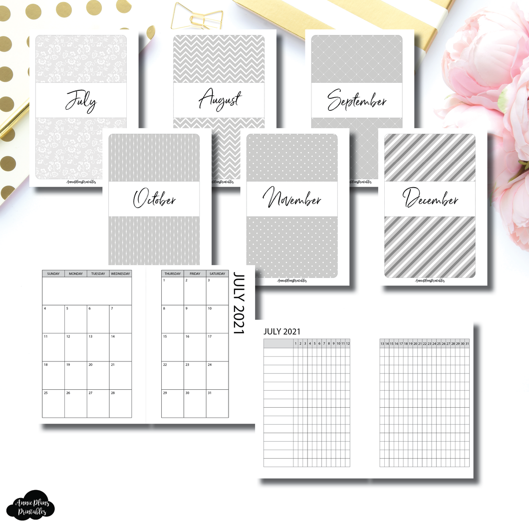 Pocket Plus Rings Size | JUL - DEC 2021 Monthly Calendar + Tracker Printable Insert