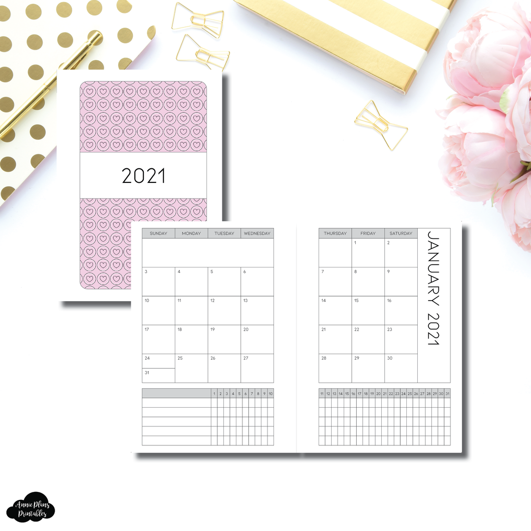 Pocket Plus Rings Size | 2021  Monthly Calendar (SUNDAY Start) + TRACKER ON 2 PAGES PRINTABLE INSERT