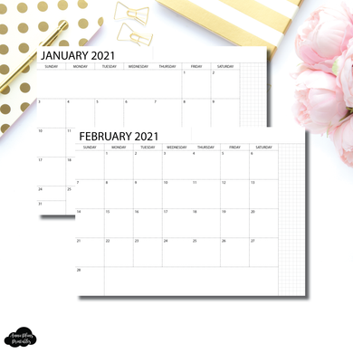 A6 Notebook Size | 2021 Monthly Printable Insert