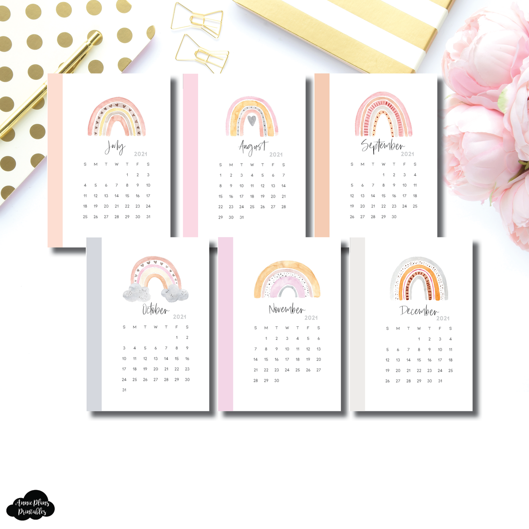 Pocket Plus Rings Size | JUL - DEC 2021 Calendar Monthly Dashboard Printable Insert