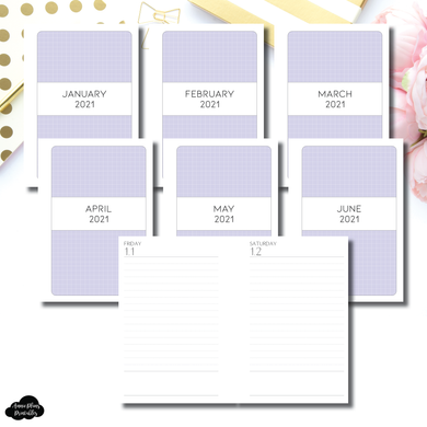 Pocket Plus Rings Size | 2021 JAN-JUN Full Month Daily LINED Printable Insert