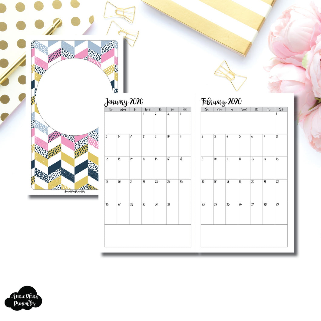 Half Letter Rings Size | 24 Month (JAN 2020 - DEC 2021) SINGLE PAGE Monthly Printable Insert ©