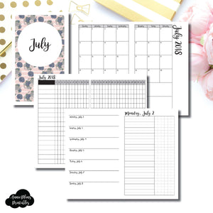 B6 Slim TN Size | JULY 2018 | Month/Weekly/Daily UNTIMED (Monday Start) Printable Insert ©