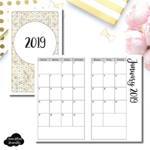 B6 Slim TN Size | 2019 Monthly Calendar (SUNDAY Start) PRINTABLE INSERT ©