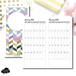HWeeks Wide Size | 24 Month (JAN 2020 - DEC 2021) SINGLE PAGE Monthly Printable Insert ©
