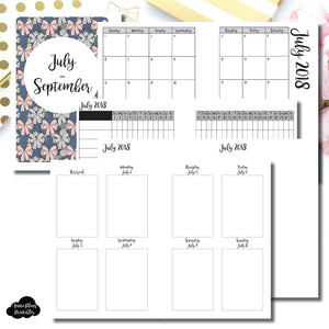 A6 Rings Size | JUL - SEP 2018 | Vertical Week on 2 Page (Monday Start) Printable Insert ©