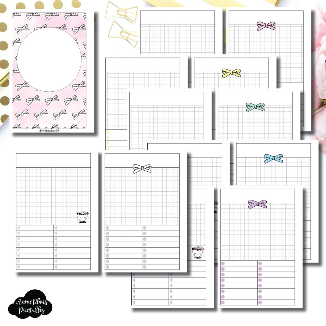 Personal Wide Rings Size | Undated Day on a Page or Project HappieScrappie Collaboration Printable Insert ©