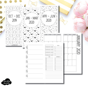HWeeks Wide Size | OCT 2019 - JUNE 2020 | Week on 1 Page (Monday Week Start) With Trackers + Lists Printable Insert ©
