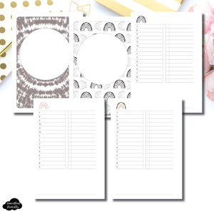 Personal Rings Size | Boho Rainbow Undated Timed Daily Printable Insert