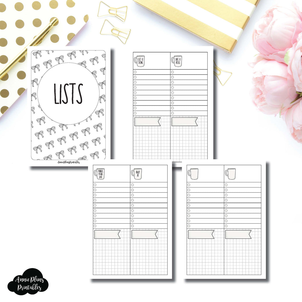 A6 RINGS SIZE | 2 Column Lists Printable Insert ©