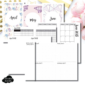 PERSONAL RINGS Size | APRIL - JUNE 2018 | Week on 4 Pages (Monday Start) Horizontal Layout | Printable TN Insert ©