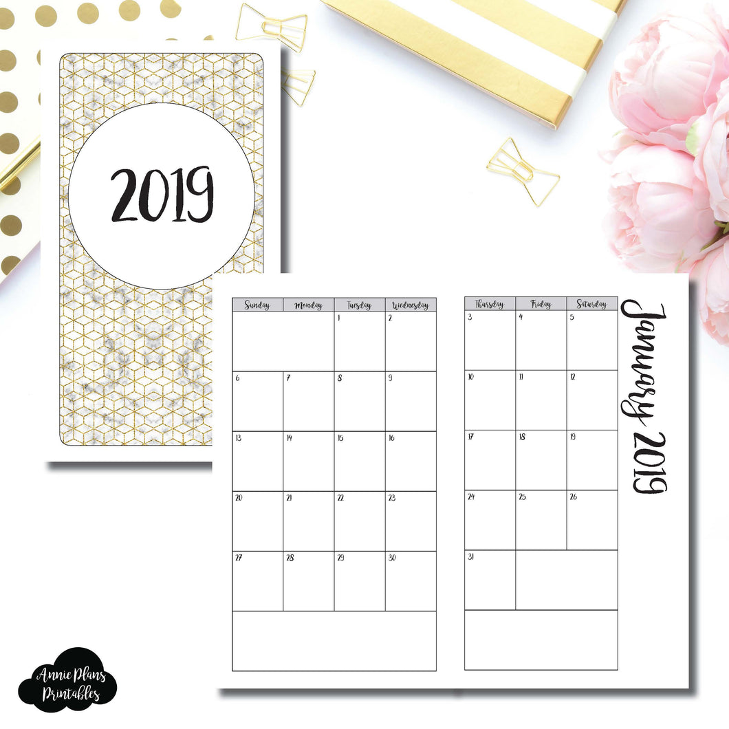 Personal TN Size | 2019 Monthly Calendar (SUNDAY Start) PRINTABLE INSERT ©