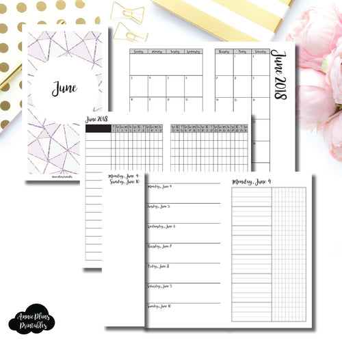 PERSONAL TN Size | JUNE 2018 | Month/Weekly/Daily UNTIMED (Monday Start) Printable Insert ©