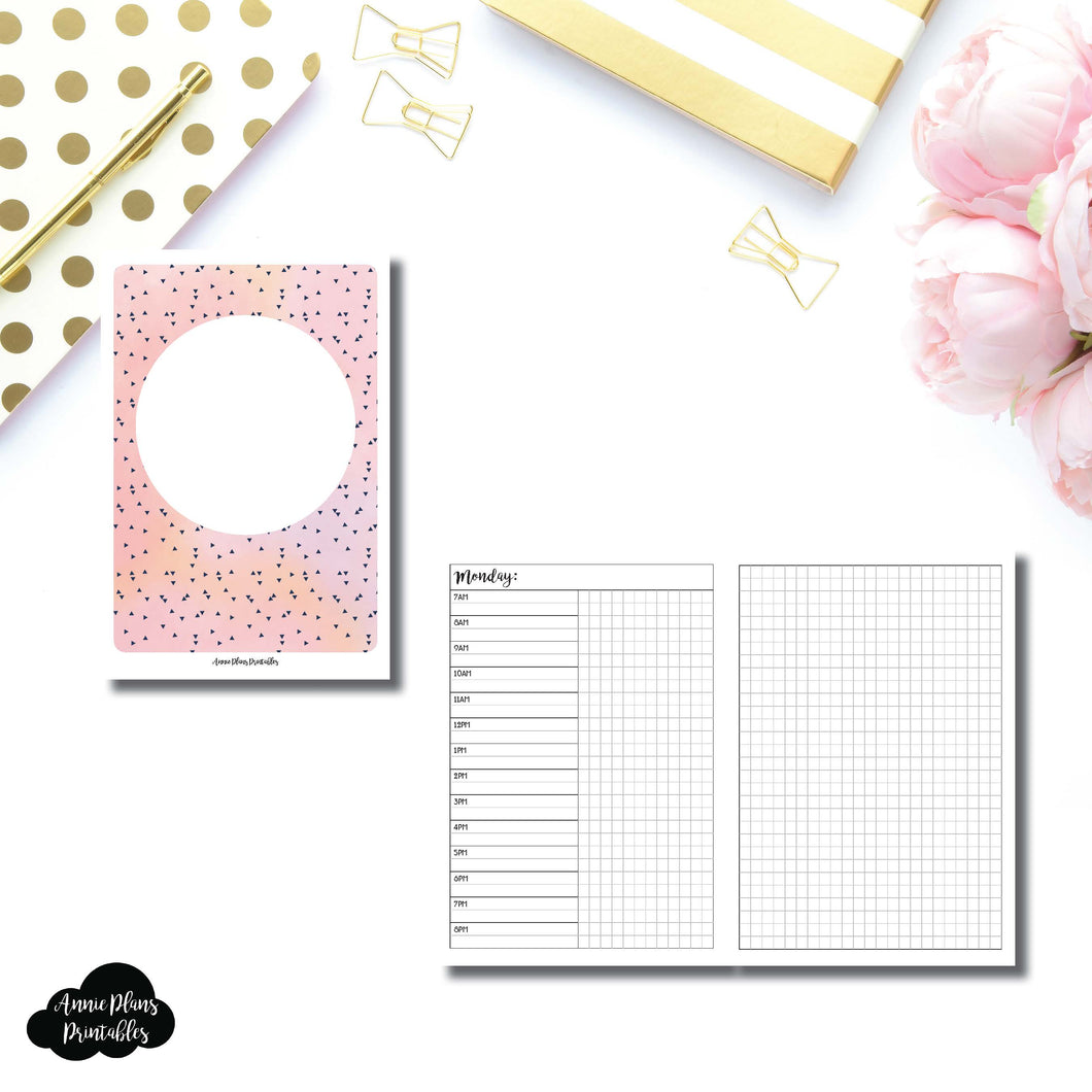 A6 Rings Size | UNDATED Day on 2 Pages Printable Insert ©