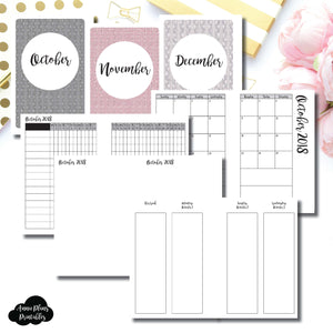 A6 Rings Size | OCT - DEC 2018 | Week on 4 Pages (Monday Start) Vertical Layout | Printable Insert ©
