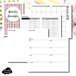B6 Slim TN Size | OCT - DEC 2018 | Horizontal Week on 2 Page (Monday Start) Printable Insert ©