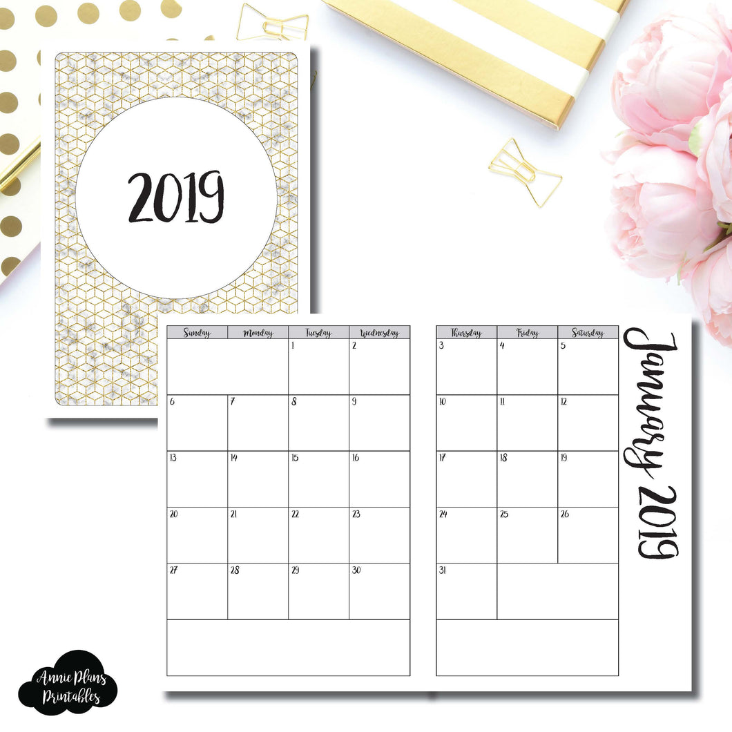 B6 TN Size | 2019 Monthly Calendar (SUNDAY Start) PRINTABLE INSERT ©