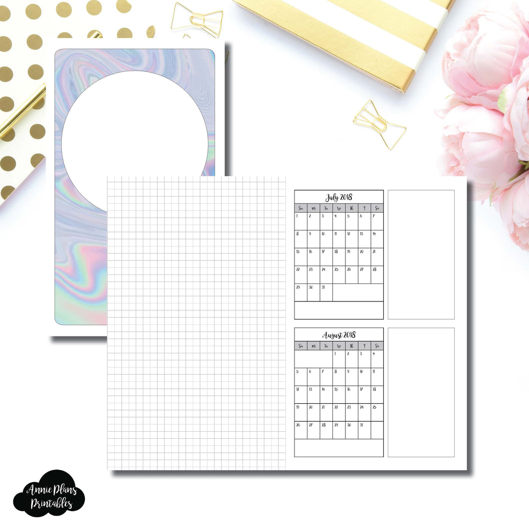 Cahier TN Size | 18 Month (July 2018 - December 2019) Forward Planning Printable Insert ©