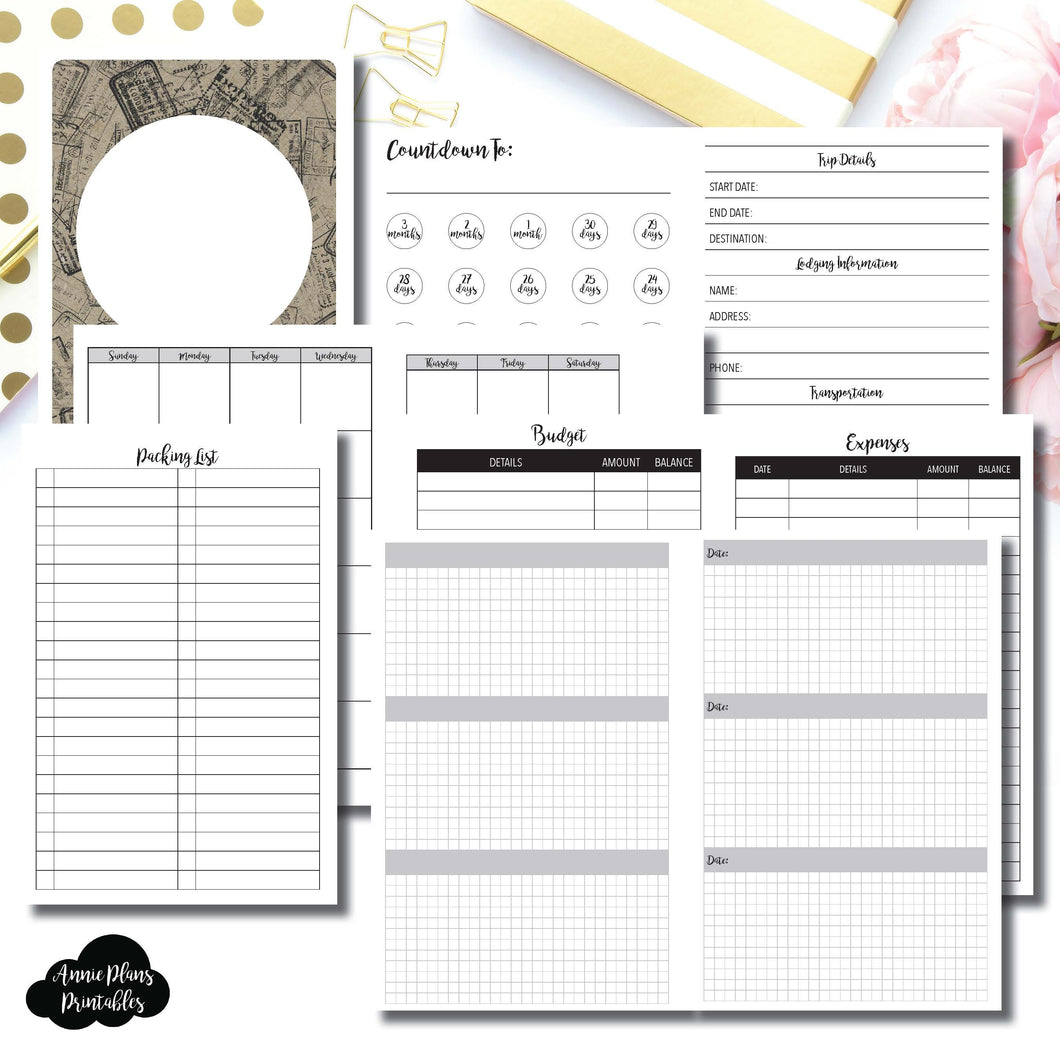 Personal Wide Rings Size | Vacation Planning Printable Insert ©