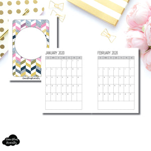Micro HP Size | SIMPLE FONT 24 Month (JAN 2020 - DEC 2021) SINGLE PAGE Monthly Printable Insert ©