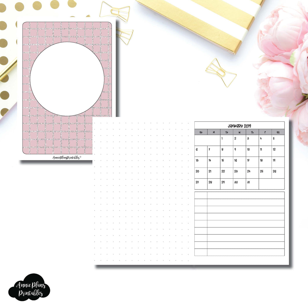 A6 TN Size | 2019 Monthly Dated Important Dates with Dot Grid Printable Insert ©