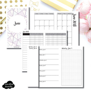 PERSONAL TN Size | JUNE 2018 | Month/Weekly/Daily GRID (Monday Start) Printable Insert ©